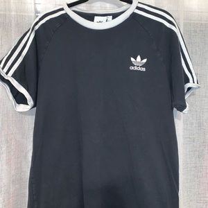 Adidas striped black tee shirt